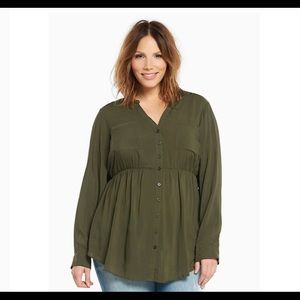 Olive babydoll top size 2